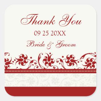 Rote und Sahneblumen danken Ihnen Gastgeschenk Quadratischer Aufkleber
