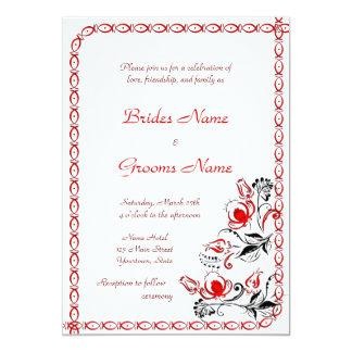 Rote und schwarze Blumen, die Einladung Wedding