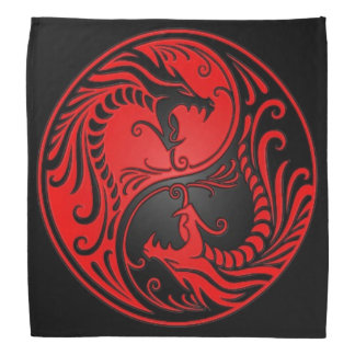 Rote und schwarze Yin Yang Drachen Halstücher