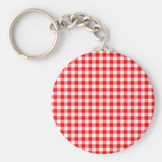 Rote und weiße Gingham-Karos Schlüsselanhänger