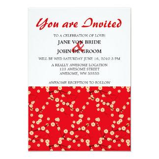 Rote und weiße Kirschblüten 12,7 X 17,8 Cm Einladungskarte