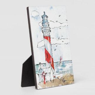 Rote und weiße Leuchtturm-Szene Fotoplatte
