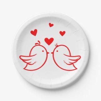 Rote und weiße Lovebirds und Herzen, die Party Pappteller