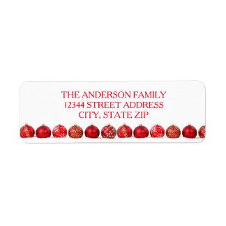 Rote Verzierungen - Adressen-Etikett