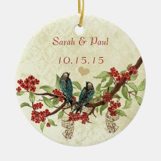 Rote Vintage Vogel-Save the Date Keramik Ornament