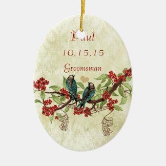 Rote Vintage Vogel-Trauzeuge-Verzierungen Keramik Ornament