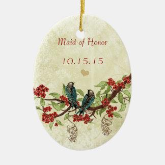 Rote Vintage Vogel-Trauzeugin-Verzierungen Keramik Ornament