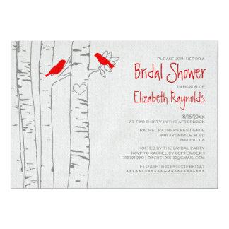Rote Vogel-Brautparty-Einladungen 12,7 X 17,8 Cm Einladungskarte
