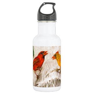 Rote Vögel Kardinäle - Gesang der Liebe Edelstahlflasche