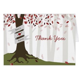 Rote Waldherbst-Hochzeit danken Ihnen Karte