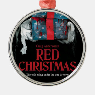 Rote Weihnachtsbaum-Verzierung Silbernes Ornament