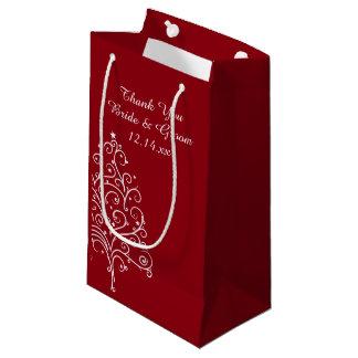 Rote Weihnachtsbaum-Winter-Hochzeit danken Ihnen Kleine Geschenktüte
