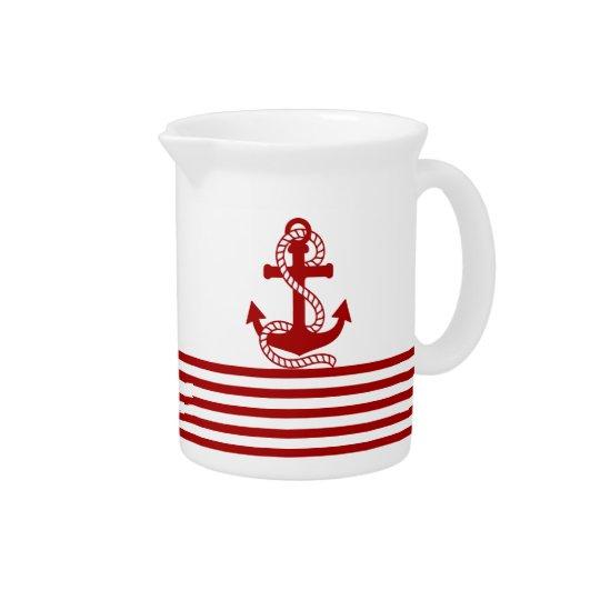 Rote weiße nautischstreifen und roter Anker Krug