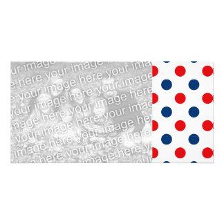 Rote weiße und blaue Tupfen Photokarten