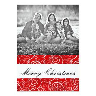 Rote Wirbels-Weihnachtsgruß-Karte 12,7 X 17,8 Cm Einladungskarte