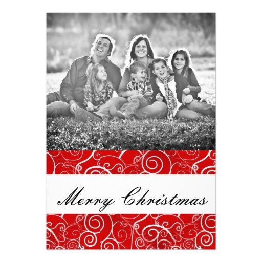 Rote Wirbels-Weihnachtsgruß-Karte Personalisierte Ankündigung