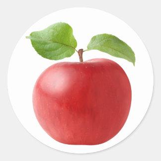 Roter Apfel Runder Aufkleber