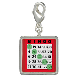 Roter BINGO Karten-Glücksbringer Charm