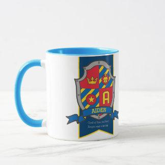 Roter blauer Name des Aiden Ritter-Schildes, der Tasse