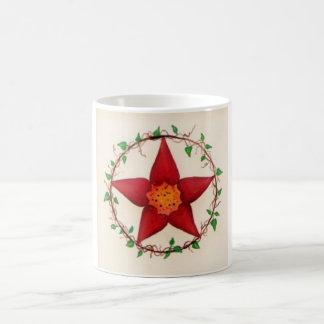 Roter Blume Pentagram Kaffeetasse