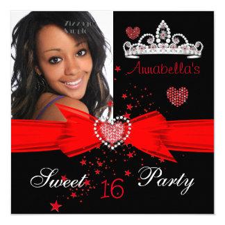 Roter Bonbon 16 Geburtstags-Diamanttiara-Foto Quadratische 13,3 Cm Einladungskarte