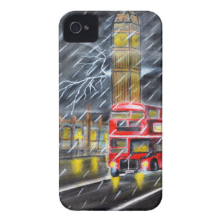 Roter Bus im London-Nachtregen iPhone 4 Etuis