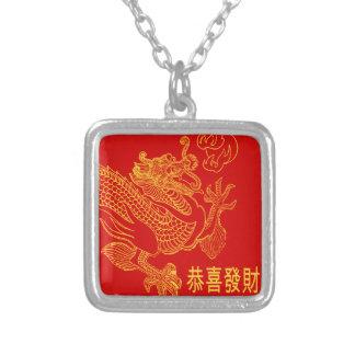 Roter chinesischer Tierkreis-Drache-neues Jahr Versilberte Kette