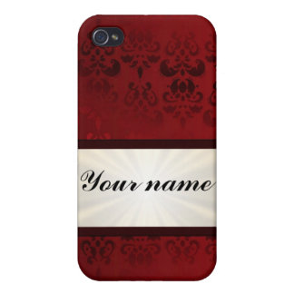 Roter Damast und Band iPhone 4 Etui