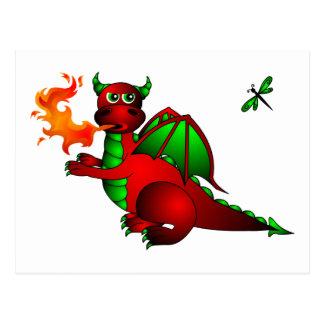 Roter Drache und Libelle Postkarte