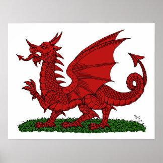 Roter Drache von Wales Poster