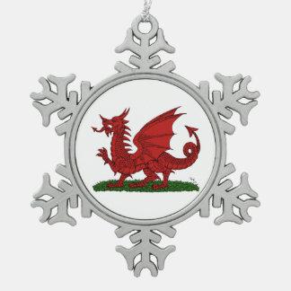 Roter Drache von Wales Schneeflocken Zinn-Ornament
