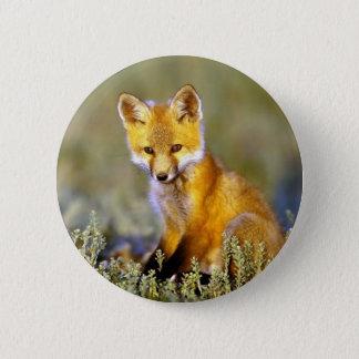 roter Fuchs des niedlichen kleinen Babys Runder Button 5,7 Cm