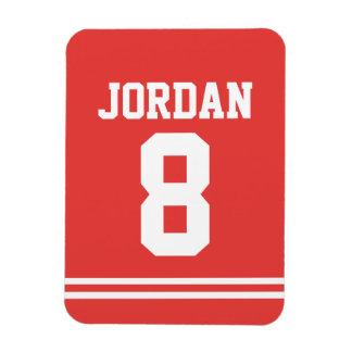 Roter Fußball Jersey mit Zahl Magnet
