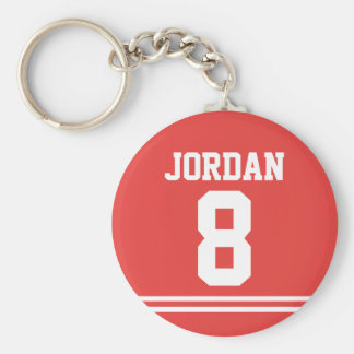 Roter Fußball Jersey mit Zahl Standard Runder Schlüsselanhänger