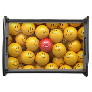 Roter gelber Smiley-Muster-Entwurf Tablett