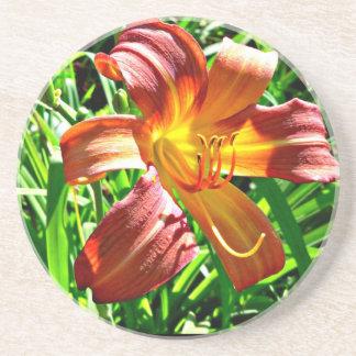 Roter gelber Tigerlilien-MahagoniUntersetzer Getränkeuntersetzer