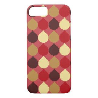 Roter geometrischer Ikat Sahneteardrop kreist iPhone 8/7 Hülle