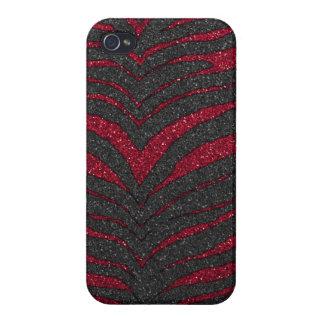 Roter Glitzerzebra-Druck iPhone 4 Hülle