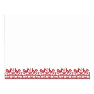 Roter Hahn-Kreuzstich Postkarten