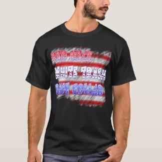 Roter Hals-White Trash-blauer Kragen T-Shirt