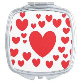 Roter Herz-Quadrat-Vertrags-Spiegel Taschenspiegel