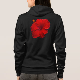 Roter Hibiskus auf Schwarzem - kundengebundene Hoodie