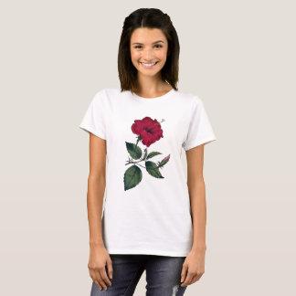 Roter Hibiskus Recolored botanisches Vintages Bild T-Shirt