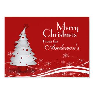 Roter Hintergrund u. weißer Baum-Weihnachtsgruß 12,7 X 17,8 Cm Einladungskarte