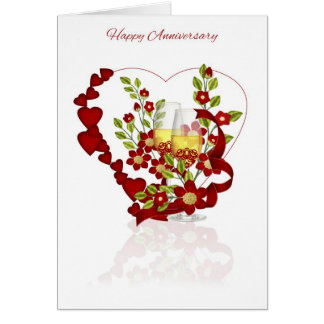 Roter Hochzeits-Jahrestag mit Champagne und Blumen Karte