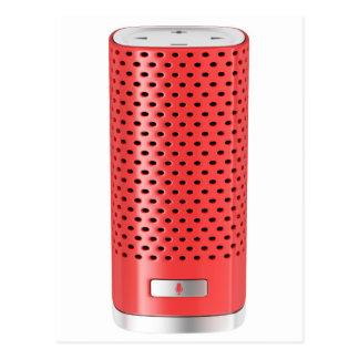 Roter intelligenter Lautsprecher Postkarte