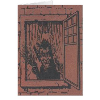 Roter Krampus Fenster-Schalter Grußkarte