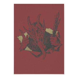 Roter Krampus Lächeln-Zunge-Schalter 12,7 X 17,8 Cm Einladungskarte