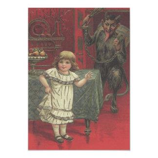 Roter Krampus Mädchen-Esszimmer-Schalter 12,7 X 17,8 Cm Einladungskarte