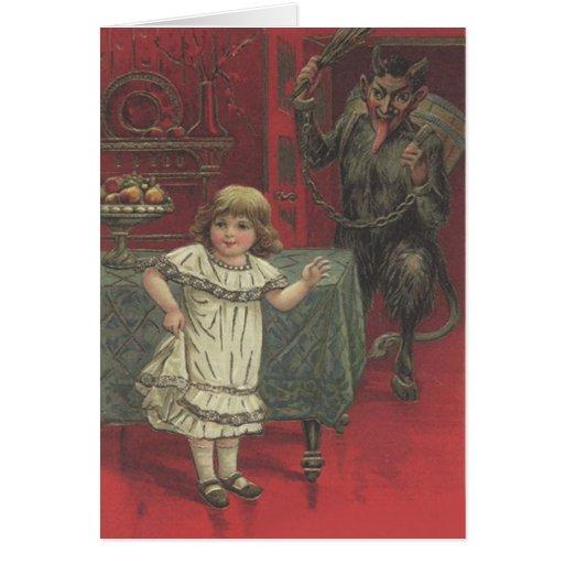 Roter Krampus Mädchen-Esszimmer-Schalter Karte